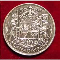 1945 Canada Half Dollar. AU