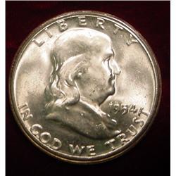 1954 P Franklin Half Dollar. Brilliant Unc.