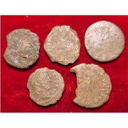 (5) Genuine Ancient Roman Coins.