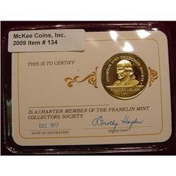 1977 Franklin Mint 24K Gold-plated Sterling