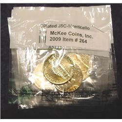 (5) 24K Gold-plated Commemorative Nickels