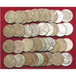 (40) Old World War II Steel Cents. Circ.
