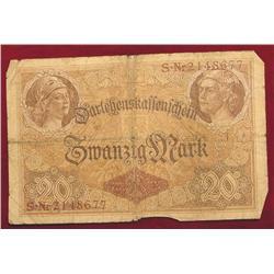 German 1914 Twenty Mark Note. Circ.