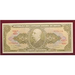 Series 4495 Brazil $5 Cruzeiros Note. CU.