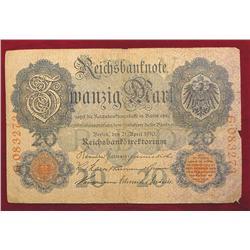 1910 Germany 20 Mark Reichsbanknote.