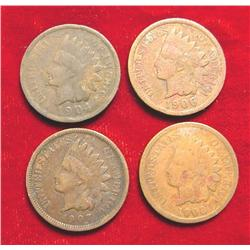 1904, 06, 07, & 08 Indian Head Cents.