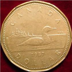"""1987 Canada """"Loon"""" Dollar. AU+"""