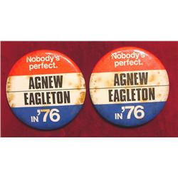 (2) Campaign Pinbacks from 1976. Agnew