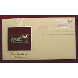 22K Gold U.S. Constitution FDC 1987