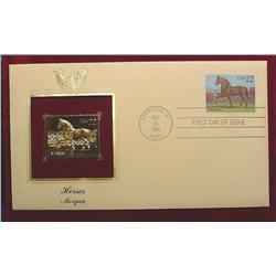 22K Gold Morgan Horses FDC 1985