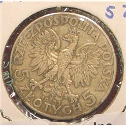 1933 Poland 5 Zlotych Silver. Y21. VF