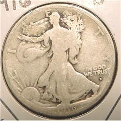 1916 Obv. D Walking Liberty Half Dollar