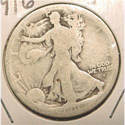1916 Obv. S Walking Liberty Half Dollar