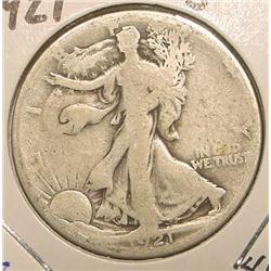 1921 S Walking Liberty Half Dollar. G-4.