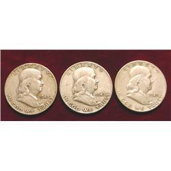1949 P, D, & S Franklin Half Dollars.