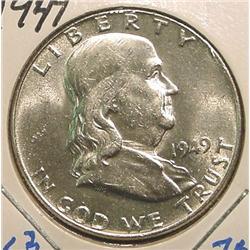 1949 P Franklin Half Dollar. Brilliant Unc.