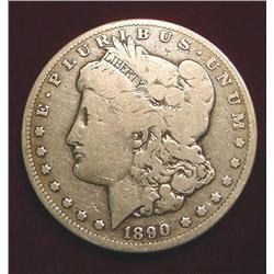 1890 CC Morgan Silver Dollar. VG-8.