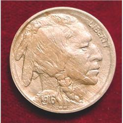 1916 P Buffalo Nickel. Superb Toned AU.