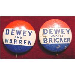"Campaign Pin-backs ""Dewey and Bricker"""