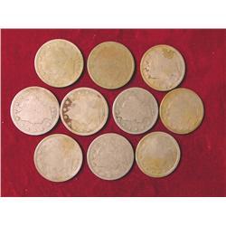 (10) 1883-1912D Liberty Nickels.