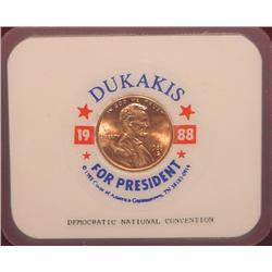 1988 Dukakis for President Encased Penny