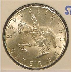 1960 Austria Silver  5-Shilling BU.
