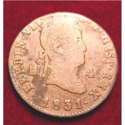 1831 Spain 4-Maravedis. Bronze.G
