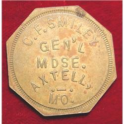 C.F. Smiley good for 50c, Axtell Mo. Token