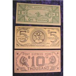 Pony Express Money $1000, $5000, & $10