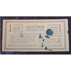 Early Iowa City, Iowa $1 Auction Buck