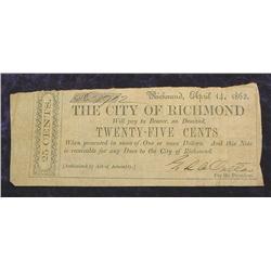 1862 Richmond, Va. .25c Confederate States