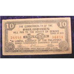 Series 1942 Philippines 10 Centavos note