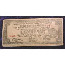 1942 Philippines $10 Peso Bohol Emergen
