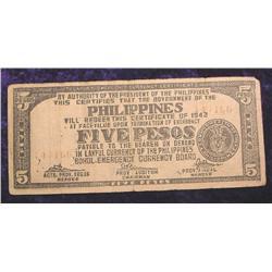 1942 Philippines $5 Peso Bohol Emergen