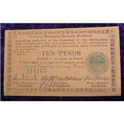 Series 1945 Philippines 10 Peso Negaba