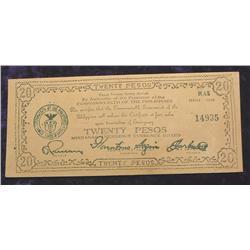 Series 1944 $20 Peso Philippines Mindanao