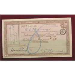 1963 $10 Pound Traver's Cheque from London