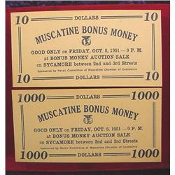 1951 $10 & $1000 Dollar Muscatine Bonus