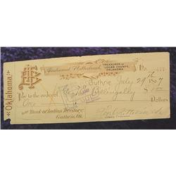1897 Check from Bank of Indian Territory