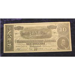 1864 C.S.A. $10 Advertising Note from