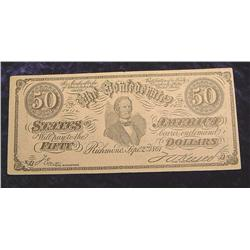 1861 C.S.A. $50 Advertising Note from