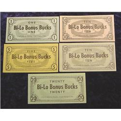 """Set of Alaska Scrip """"Bi-Lo Bonus Bucks"""""""