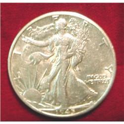 1945 D Walking Liberty Half Dollar. EF-AU