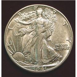 1941 D Walking Liberty Half Dollar. AU