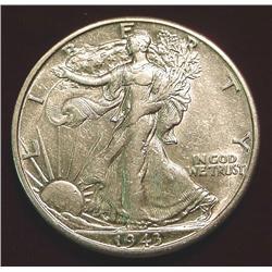1943 D Walking Liberty Half Dollar. EF-AU