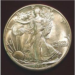 1944 D Walking Liberty Half Dollar. AU-BU
