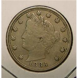 1883 No Cents Liberty Nickel. VF 20.