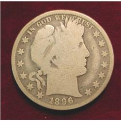 1896 P Barber Half Dollar. G-4.