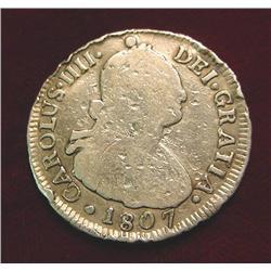 18/807 Charles IV Chile Silver 2 Real. Rare