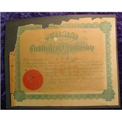 1916 N.A.R.D. Certificate of Membership